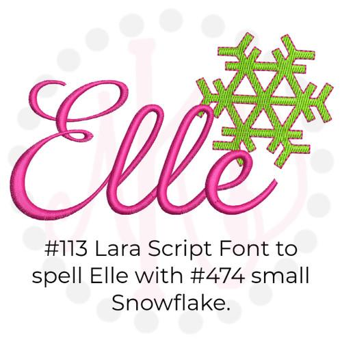 No 113 Lara Script Font Embroidery Designs 2 inch high