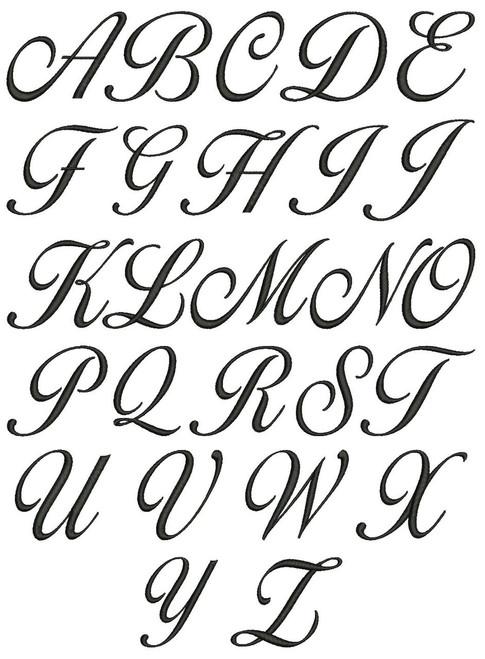 No 120 Lara Script 3 Letter Monogram Machine Embroidery Designs 1.5 inch high