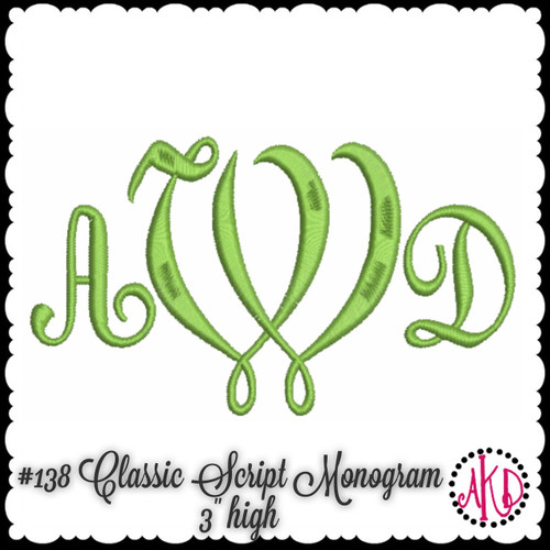 No 138 Classic Script 3 Letter Monogram Machine Embroidery Designs 3 inches high