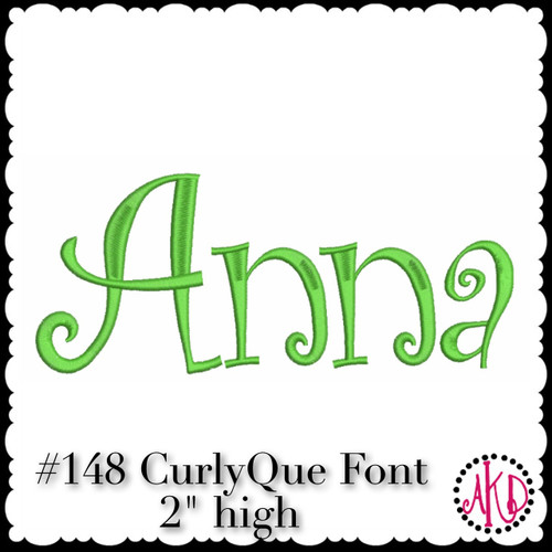 No 148 CurlyQue Font Machine Embroidery Designs 2 inch high