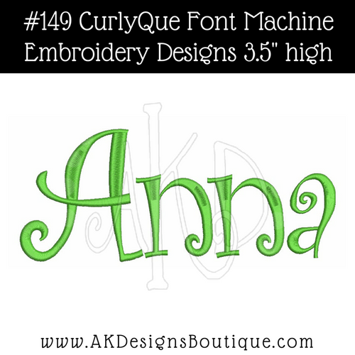 No 149 CurlyQue Font Machine Embroidery Designs 3.5 inch high