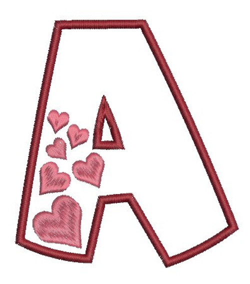 No 30 Heart Font Machine Embroidery Designs 4 inch high