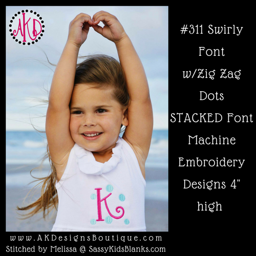 No 311 Swirly Font with Zig Zag Dots STACKED Font Machine Embroidery Designs 4 inch high