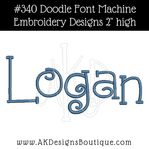No 340 Doodle Font Machine Embroidery Designs 2 inch high