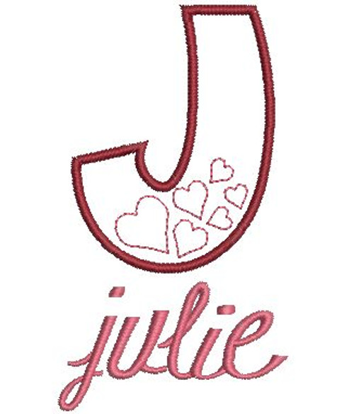 "We used our #25 Elegant Stacked Monogram lowercase letters to spell ""julie"""