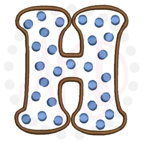 No 374 POLKA DOT Font Uppercase ONLY Embroidery Designs 4 inch high