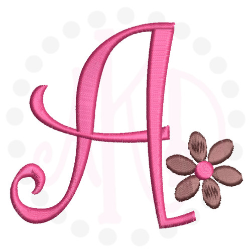 No 5 Flower Font Machine Embroidery Designs 3.5 inch high