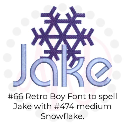 No 66 Retro Boy Font Machine Embroidery Designs 2 inch high