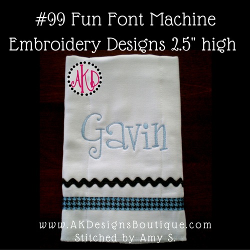 No 99 Fun Font Machine Embroidery Designs 2.5 inch high