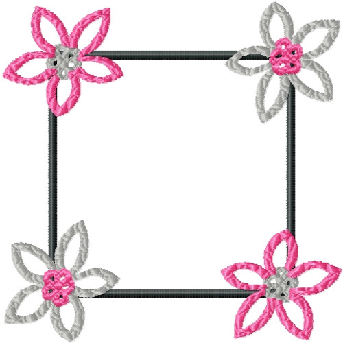 No 33 Retro Flower Frame Machine Embroidery Designs