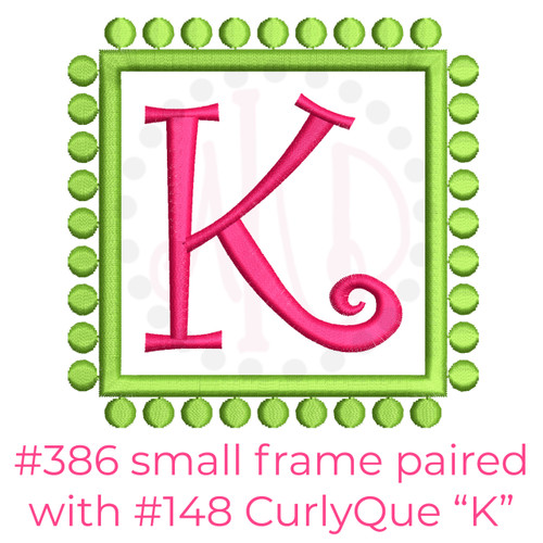 No 386 Preppy Dots Font Frames Machine Embroidery Designs
