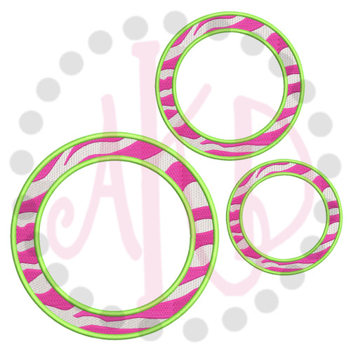 No 387 Circle Zebra Font Frames Machine Embroidery Designs