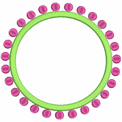 No 394 Preppy Circle Dots Monogram Frames Embroidery Designs