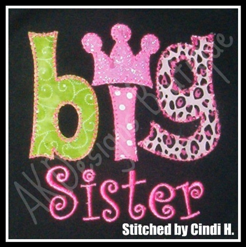 """Example stitched by Cindi H. - she used a Curlz font [like our CurlyQue Font] for """"sister""""."""