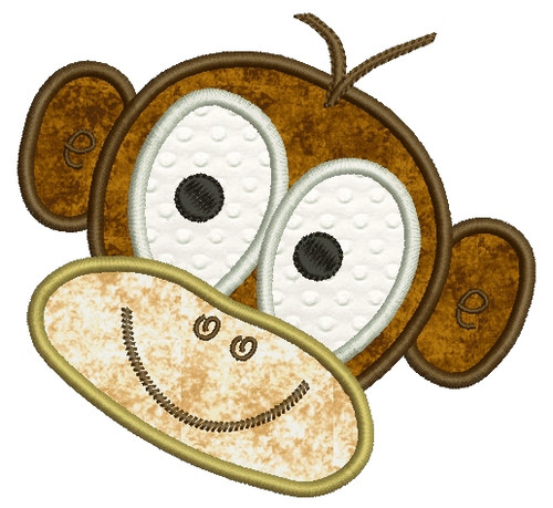 No 845 Applique Monkey Face Machine Embroidery Designs