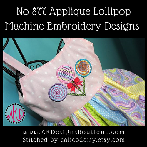 Pageant dress with our #877 Applique Lollipops - How cute! Stitched by CALICODAISY Handmade.