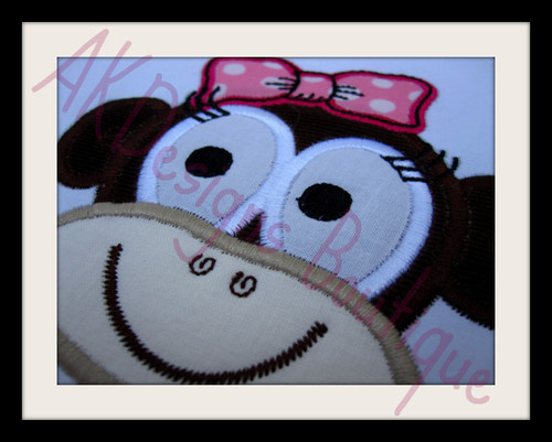 No 847 Applique Girly Monkey Face Machine Embroidery Designs