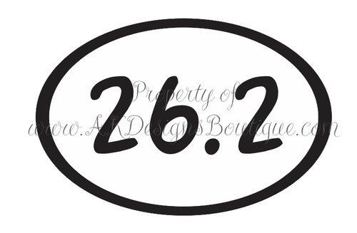 No. V103 26.2 Marathon Decal Oval - Ready to Cut Artwork for Vinyl Cutter