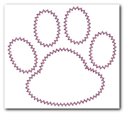 No 833 Applique Paw Prints Machine Embroidery Designs