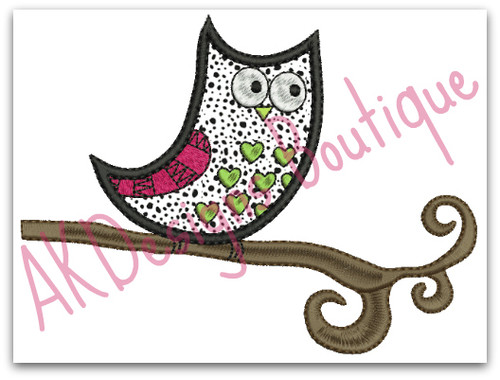 No 831 Applique Owl Machine Embroidery Designs