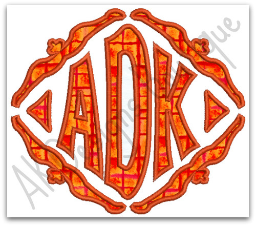 No 1322 Applique Diamond Monogram Machine Embroidery