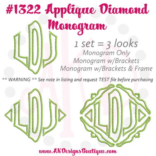 No 1322 Applique Diamond Monogram Machine Embroidery