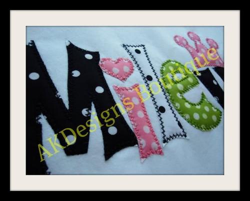 No 1357 Applique Princess Font Machine Embroidery Designs 5.5 inch high