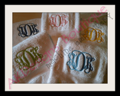 No 1364 Entwined or Vine 3 Letter Monogram Machine Embroidery Designs 4 inch high