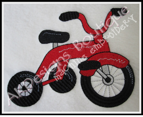 No 566 Cute Tricycle Machine Embroidery Designs