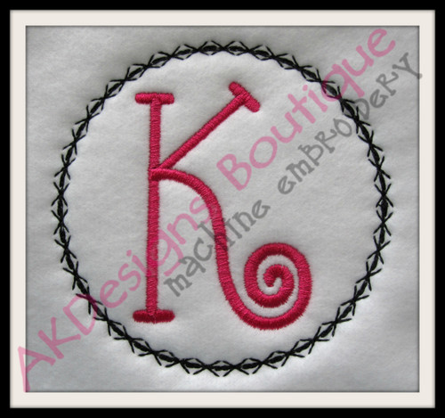 "Criss Cross Frame with our #353 Doodle Font ""K"" {sold separately} {easily stitch without fabric for a cute frame like the pictures shown}"