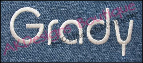 Sample stitched on denim
