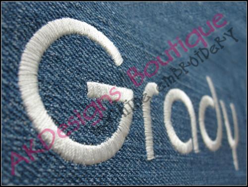 Close-up sample stitched on denim