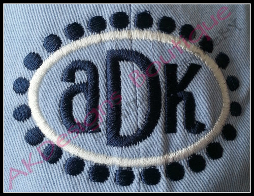 """Sample of the 2x3 size frame stitched on a hat with """"ADK"""" from our #1382 Reese Font and Monogram [sold separately] - without applique fabric - super easy!"""