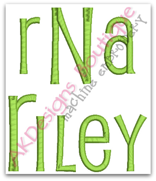 No 1388 Reese Font and 3 Letter Monogram Machine Embroidery Designs 3 inch high