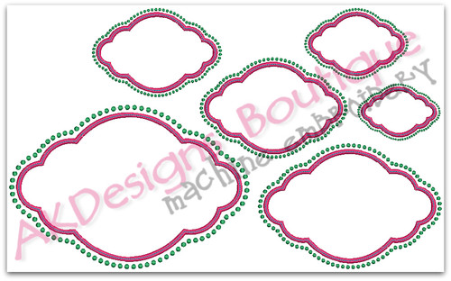 No 448 Fancy Applique Cloud Font Frame Machine Embroidery Designs