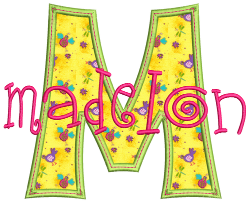 No 1426 Funky Applique STACKED Font and Numbers Machine Embroidery Designs 6 inch high