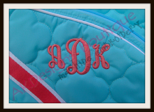 No 1370 Adele 3 Letter Monogram Machine Embroidery Designs 2 inch high