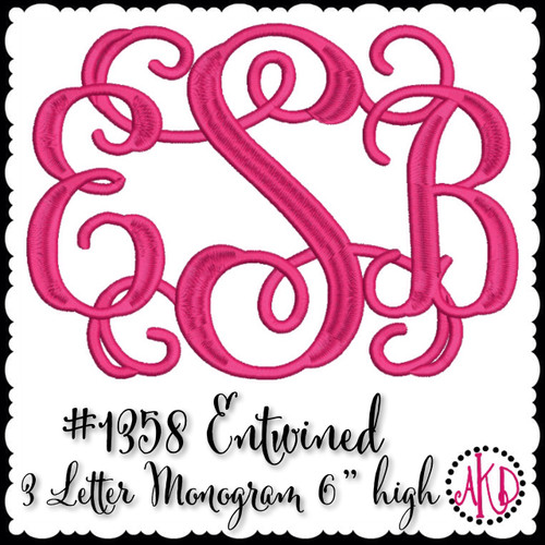 No 1358 Entwined or Vine 3 Letter Monogram Machine Embroidery Designs 6 inch high