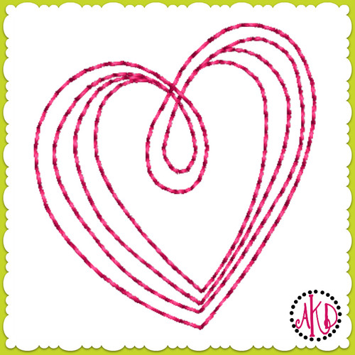 No 581 Teeny Hand Drawn Triple Stitch Hearts Machine Embroidery Designs