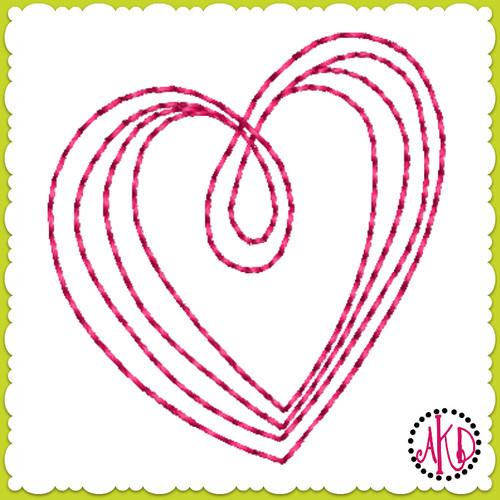 No 581 Teeny Hand Drawn Triple Stitch Hearts Machine Embroidery Designs