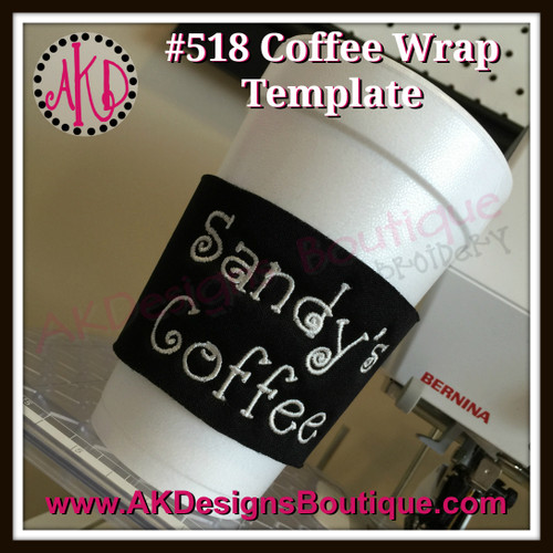 "The font in this example coffee wrap picture is our No 323 Doodle Font - .75"" high"
