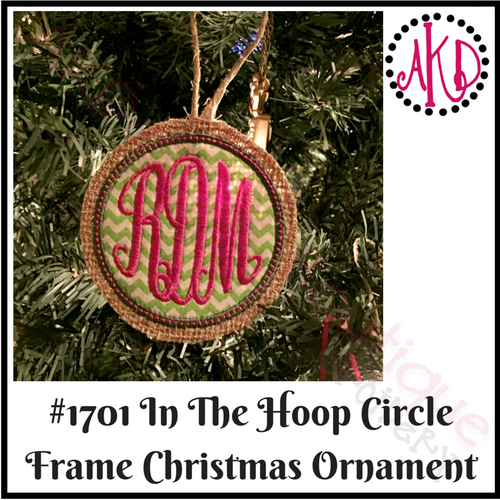 In The Hoop Christmas Ornament Circle Frame Machine Embroidery Design #1701