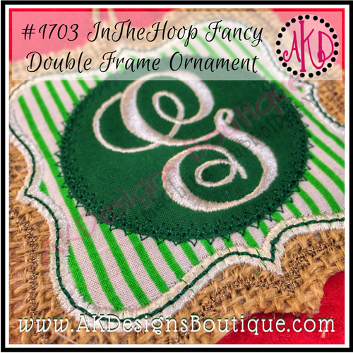 In The Hoop Christmas Ornament Fancy Double Frame Machine Embroidery Design No. 1703