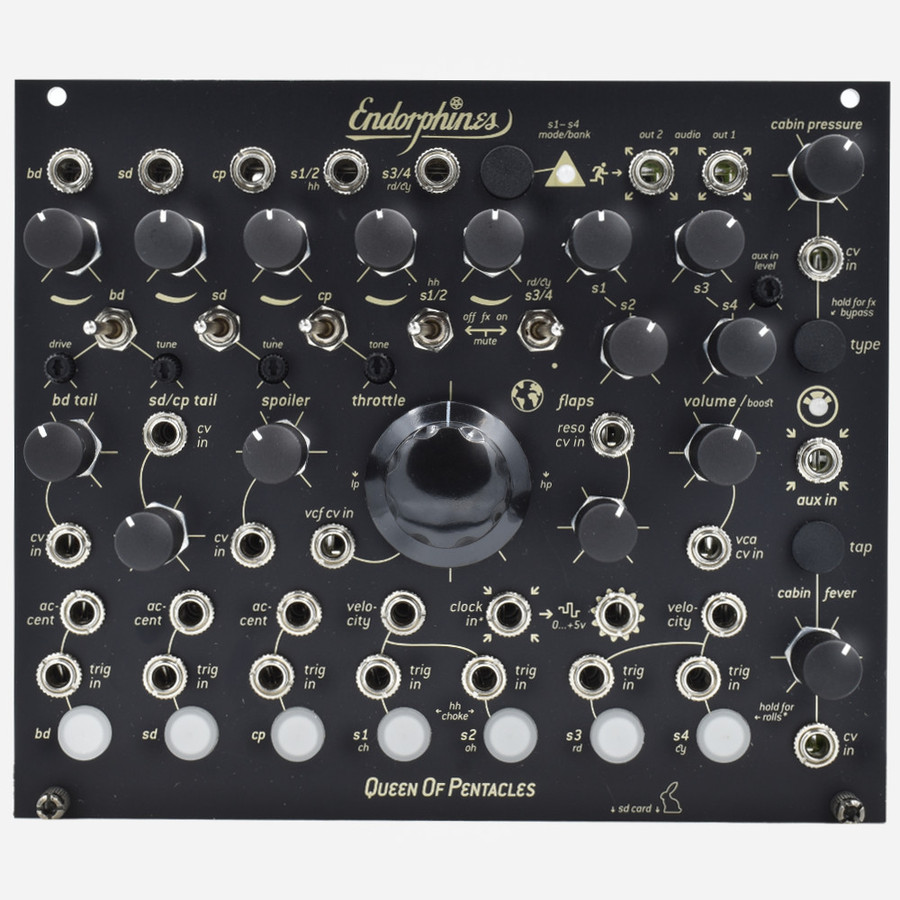 Endorphin.es Queen Of Pentacles Eurorack Drum Module Inspired by the TR-909 and Blck_Noir