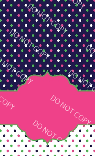 Pink, Green, Navy Dots Custom Printed Garden Flag