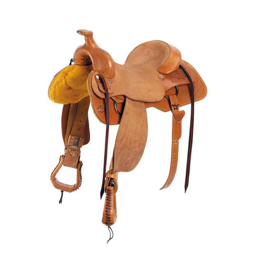 "The Rocky Mountain Working Cowhorse is the latest in our line of the best in working saddles! Only the finest leather goes into this saddle and the craftsmanship shows in every detail. The square skirt is cut to help give better leg cues, and tapered to help show off those hard stops. The Buster Welsh Ranch Tree is designed to hold up under heavy working conditions, and the rough out seat helps hold the rider and the deep Komfort Kantle gives the rider a ""sweet spot"" seat when needed. Tree: Buster Welsh Ranch, Rawhide Covered  Bars: Full Quarter Horse (7"" Gullet)  Seat: 15"", 16"" or 17""  Cantle: 4"", Leather Cheyenne Roll  Fork: 13"" with Rope Strap  Horn: 3"" High x 3 1/2"" Cap Rigging: 7/8 Stainless Steel Double Hanging Dees  Skirts:Fleece Lined, Breast Collar Dees  Flank Cincha: Heavy Skirting Leather  Cincha: 27 Strand Roper Stirrup Leathers: 3"" with Blevins Buckles Stirrups: 3"" Leather Ropers  Finish: Partial Tooled, Rough Out Seat & Fenders, Oiled and Polished Weight: 38 to 40 lbs. Fully Rigged"