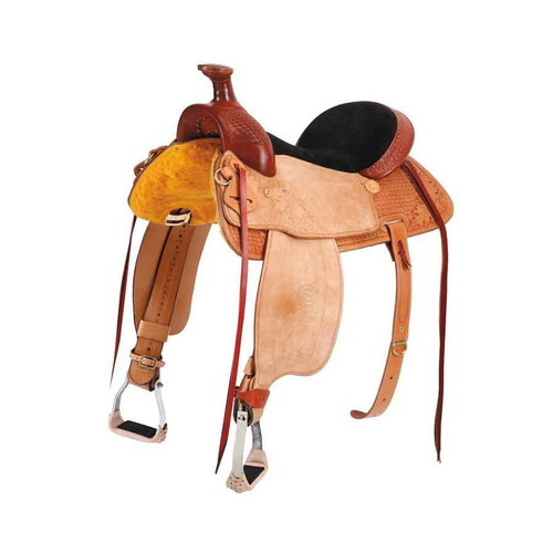 """Colorado Bowman tree it has a deep, narrow seat for comfortable all day riding. A distinctive three leather look completes this great saddle. Tree: Tuff Coat Colorado Bowman Bars: Full Quarter Horse (7"""" Gullet) Seat: 13"""", 14"""", 15"""", 16"""" or 17"""" (13"""" Seat comes with Kid's Stirrup Leathers & Fenders) Cantle: 4 1/2"""", Leather Cheyenne Roll Fork: 12"""" with Rope Strap Horn: #4 Dally Post, Rawhide Bound (3 1/2"""" High x 2 1/2"""" Cap) Rigging: 7/8 In Skirt Brass """"C"""" Skirts:Fleece Lined Flank Cincha: Heavy Skirting Leather Cincha: 27 Strand Roper Stirrup Leathers: 3"""" with Blevins Buckles Stirrups: 2"""" Slanted Top Aluminum Visalias Finish: Half Breed, , Oiled and Polished Weight: 30 to 33 lbs. Fully Rigged"""