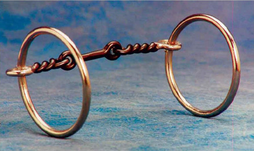 "A great ring snaffle with 5"" black steel mouth and 3"" rings, inlaid with copper to keep the mouth moist. Designed for training or for the well broke horse it has low leverage and is easy on the mouth."