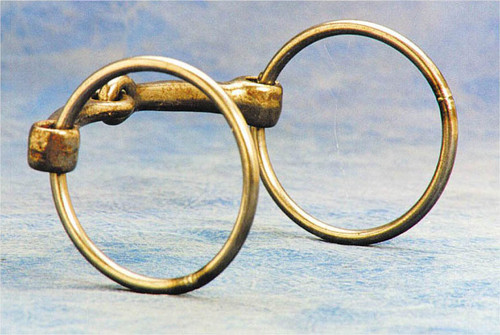 """A great ring snaffle with 5"""" black steel mouth and 3"""" rings, inlaid with copper to keep the mouth moist. Designed for training or for the well broke horse it has low leverage and is easy on the mouth."""