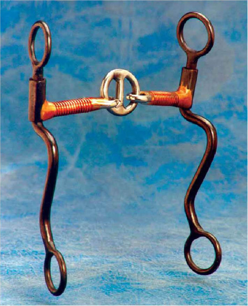 """This mild shanked snaffle works well as a transition bit or as an everyday bit. The center ring works as tongue pressure which helps in flex and also headset and collection. 5"""" copper wire wrapped mouth and 8"""" cheeks."""